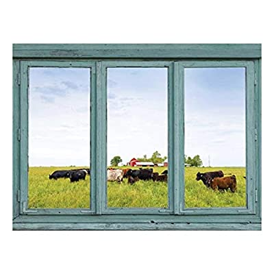 Made to Last, Lovely Technique, Cows in a Field with a Red Barn in The Background Wall Mural