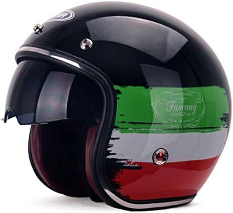 NJ ヘルメット- オートバイ電気自動車のヘルメットの男性と女性四季ユニバーサルサンプロテクションヘルメット (色 : Three-color flag, サイズ さいず : 33x25x27cm)