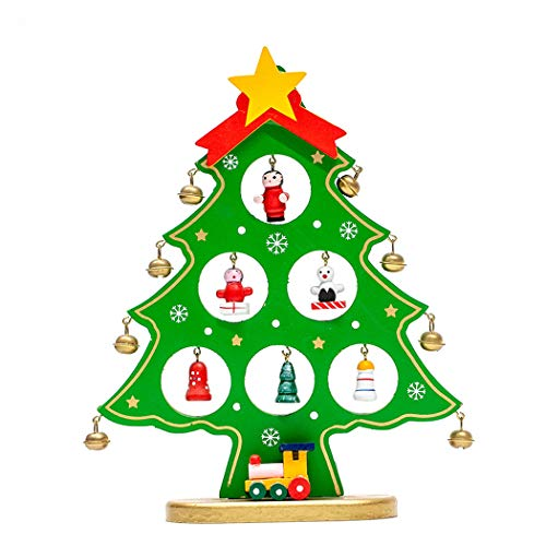Green Christmas Centerpiece Mini (Funpa Mini Christmas Tree Decor Artificial Wooden Xmas Tree Tabletop Ornament)