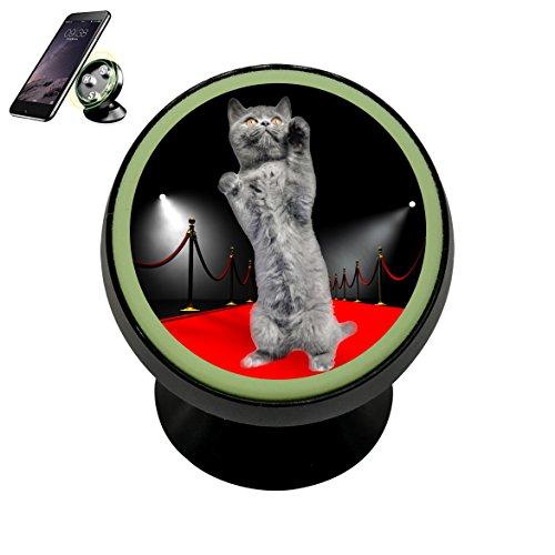 Se50K Red Carpet Cat Star Kitten Vehicle Phone Mount Magnetic Phone Car Bracket Holder Noctilucent Mobile Rotating Universal Cellphone iPhone Kit Gadget