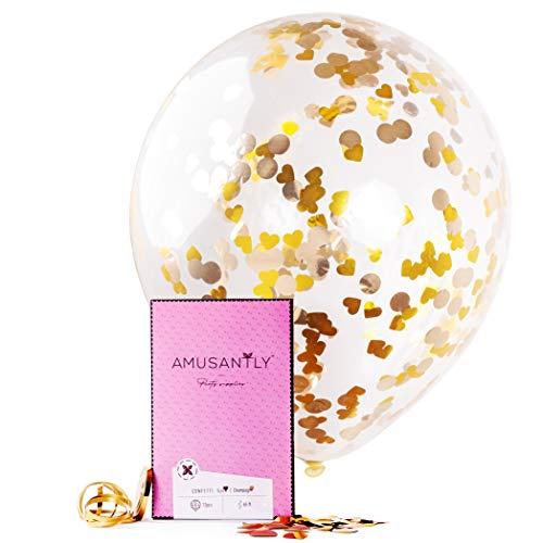 AMUSANTLY 12pcs Gold Confetti Balloons, 18-Inch Big Glitter Balloons with Metallic Gold Confetti Inside | Transparent Latex Ballons for Birthday Engagement or Wedding Party Decorations +65ft Ribbon