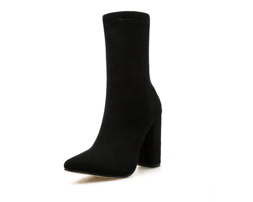 Großformat Knöchel Bootie Frauen 10,5 cm Chunkky Ferse Spitzen Zehen Martin Stiefel Kleider Schuhe Roma-Schuhe EU-Größe 35-42