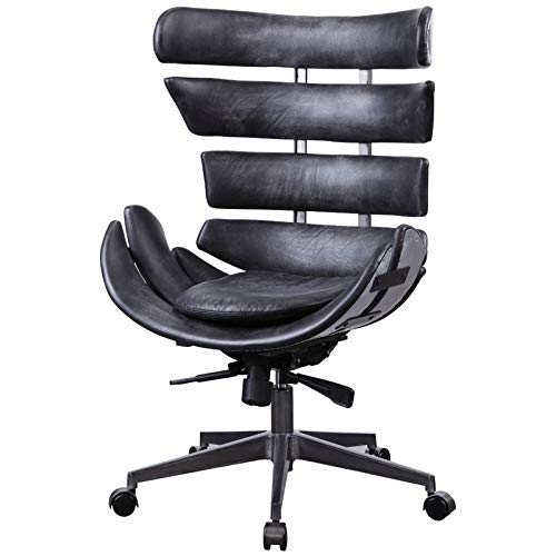 ACME Furniture 92552 Megan Executive Office Chair Vintage Black Top Grain Leather and Aluminum