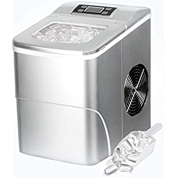 Countertop Ice Maker PortableIce MakingMachine with Timer-BulletIce Cubes Ready in 6Mins - Makes 26 lbs Ice in 24 hrs - Perfect for Home/Office/Bar, LCD Display & Ice Scoop& Bucket(Silver)