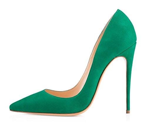 Klassischer Pumps Heels uBeauty Damen on Stilettos Schuhe Spitze Slip Sexy Übergröße High Grün 120MM Wildleder Zehen dI400qrvw