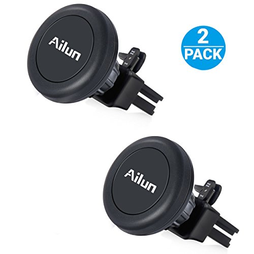 AILUN Car Phone Mount,Magnet Key Clip Holder,Air Vent Magnetic Holder 2Pack Universal Compatible iPhone X/Xs/XR/Xs Max/8/8Plus/7,Galaxy S9/S9+,S8/S8+ S7/S7 Edge,Google,LG,HTC and More[Black]