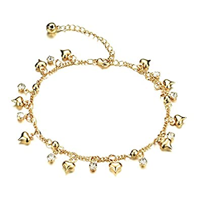 "Fate Love Heart Shape Pendant Twisted Rope Chain Anklet 18k Gold Plated Foot Chain, 8"", Adjustable"