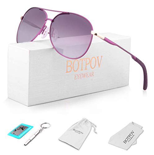 Polarized Aviator Sunglasses for Men and Women-100 UV Protection Mirrored Lens -Metal Frame with Spring Hinges (Purple) (Frame Purple Lens)
