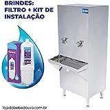 Bebedouro Industrial Coluna Aço Inox 50 Litros Filtro Grátis (110V)