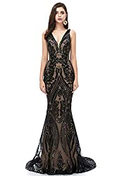 Black V-Neck Sequins Sleeveless Lace-up Mermaid Dress