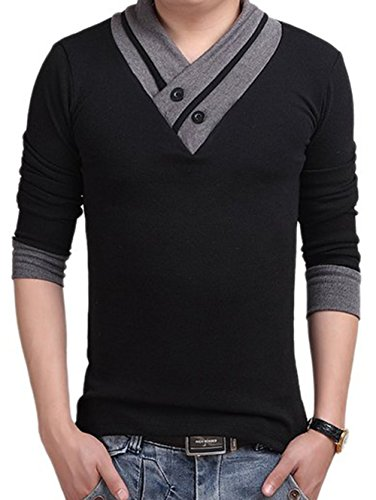 L'ASHER Men Summer Fashion Button V Neck Slim Muscle Tops Tee T Shirt Long Short Sleeve