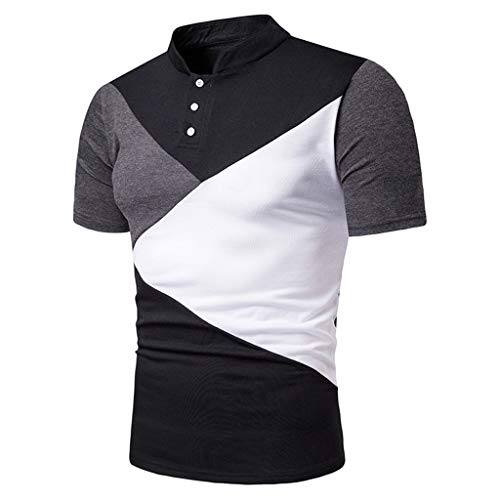 POQOQ T Shirts Polo Tops Blouse Men's Performance Polo Men's Regular-fit Quick-Dry Stitching Golf Polo Shirt XL Black ()