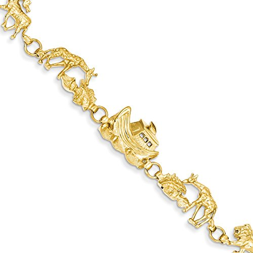 14k Yellow Gold Noahs Ark Bracelet 7 Inch Animal Fine Jewelry Gifts For Women For Her (14k Gold Noahs Ark Bracelet)