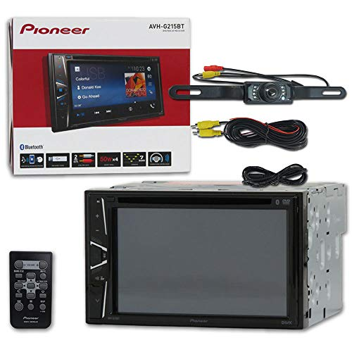 Pioneer AVH-G215BT Car Audio Double Din 2DIN 6.2 Touchscreen DVD MP3 CD Stereo Built-in Bluetooth + Remote & DCO Waterproof Backup Camera with - Screen Touch With Camera Mp3
