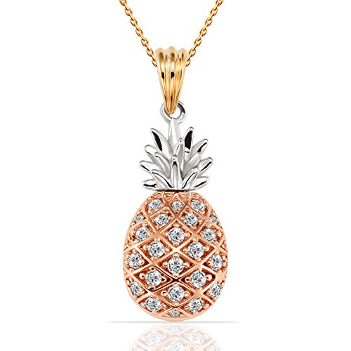 Jewel Connection Stylish Tri Color Pineapple CZ Pendant in 14K Yellow, White and Rose Gold for Women and Girls
