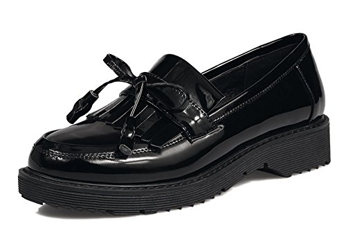 Aisun Women's Vintage Fringed Round Toe Thick Sole Low Heels Platform Slip On Loafers Shoes (Black, 6.5 B(M) US) by Aisun