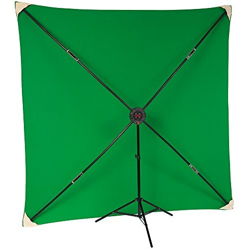 8x8' Chroma Key Green Muslin with PXB Portable X-Frame Background System by Studio Assets
