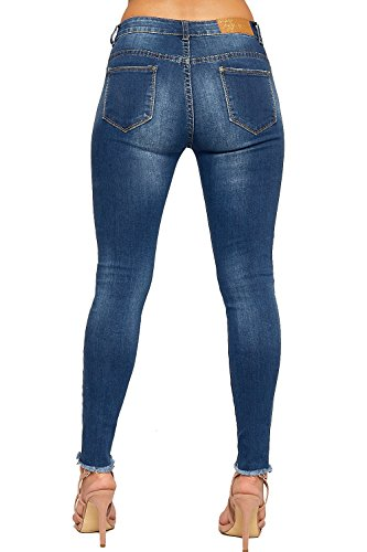 Jambe Ripped Maigre 42 Afflig Bleu Perle Jeans Embellie De 34 Femmes WEARALL Poche Dames Jean Toile qn8BUH