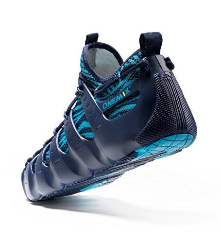 Onemix Mens Womens Sneakers Leggero Traspirante Outdoor Walking Shoes Sneakers Sock-like Blu Scuro