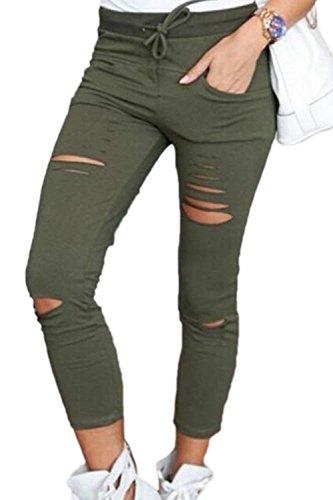 Tiempo Sólido Pantalon Cintura Para Bolsillos Delanteros Slim Interno De Lounayy Cómodo Color Verde Fit Largos Moderno Cordón Alta Lápiz Moda Estilo Outdoor Libre Pants Rasgado 6Oq6awPY