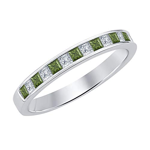 Gold & Diamonds Jewellery Princess Cut Green Tourmaline & Diamond .925 Sterling Silver Engagement Wedding Band Ring for ()