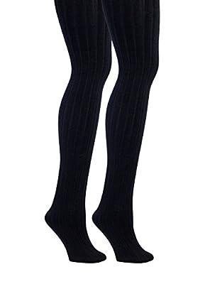 Womens Fleece Lined Ribbed Tights - Cute Winter Legwear for Women