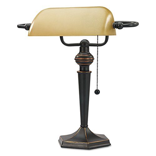 Alera ALELMP537BZ Traditional Banker's Lamp, 16'' High, Amber Shade with Antique Bronze Base by Alera