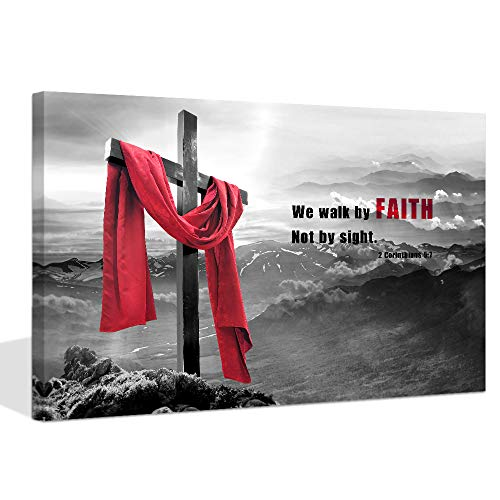 Visual Art Decor Modern Black White Red Christian Wall Art Wood Cross We Walk by Faith Not by Sight Bible Verse Inspirational Picture Canvas Prints Poster Decoration Ready to Hang Home Office Artwork