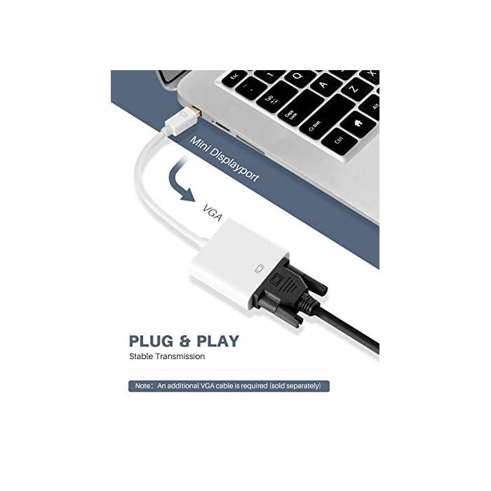 413V7JY3QXL Haz clic aquí para comprobar si este producto es compatible con tu modelo 【Alta definición】Soporta resoluciones de vídeo de hasta 1920x1200 / 1080P (Full HD), el adaptador Mini Dp a VGA puede transmitir vídeo y audio de alta definición desde su computadora a un monitor para fluido de video o juegos, conecta y configura su monitor para un escritorio extendido o pantallas duplicadas 【Plug and Play】Apoyo de Caliente-intercambio, plug and Play, no necesario conducir. Fácil operación y uso conveniente, usar Thunderbolt para conectar la computadora, VGA conectado al monitor y usar un cable VGA de buena calidad (se requiere un cable VGA separado (se vende por separado).