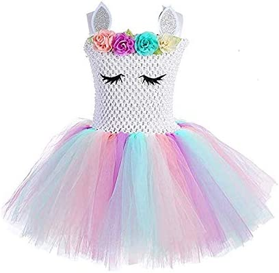 فستان للفتيات الصغيرات بتصميم رينبو يوني كورن من توتو فستان الاميرة الفاخر لحفلات اعياد الميلاد وعيد الهالوين التنكري، مناسب للفتيات والأطفال بعمر 3-8 سنوات