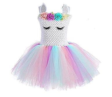 a7ca90efc82 Children Girls Rainbow Unicorn Tutu Dress Princess Fancy Dress Birthday  Pageant Party Dresses Girls Christmas Halloween Pony Cosplay Costume for Baby  Girls ...