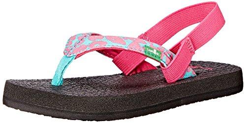 Sanuk Kids Yoga Wildlife Girls Flip Flop (Toddler/Little Kid/Big Kid), Pink/Turquoise Cheetah,  9/10 M US - Pink Havianas