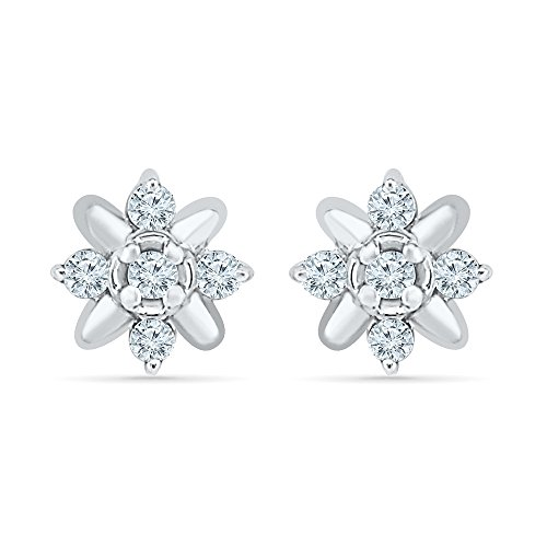 Flower Earrings For Women In 10K White Gold And Diamonds (0.10 CTTW) by Estella Collection