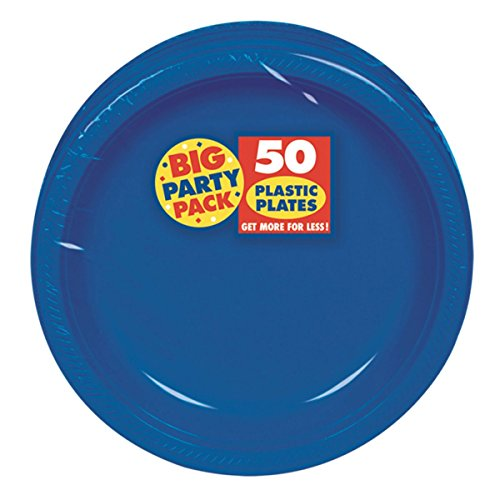 Big Party Pack Dessert Plates, 50 Pieces, Made from Plastic, Bright Royal Blue, 7-Inch by Amscan Blue Snack Plate
