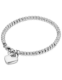 Cupimatch Womens Stainless Steel Elastic Love Heart Charm Beaded Ball Chain Bracelet Mother's Day Gift