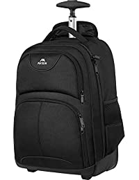 Rolling Backpack, Matein Waterproof Travel Wheeled Laptop Backpack for Women Men, Carryon Trolley Luggage Suitcase Compact Business Bag College School Computer Bag fit 15.6 Inch Notebook,Black