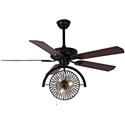 "LITFAD Industrial Fan Antique Black Brown 47.24"" 3 Lights Vintage Pendant Light Ceiling Light Retro Chandelier Gear in Wrought Iron Style"