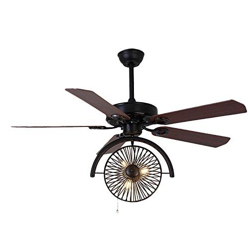 "LITFAD Industrial Fan Antique Black Brown 47.24"" 3 Lights Vintage Pendant Light Ceiling Light Retro Chandelier Gear in Wrought Iron Style"
