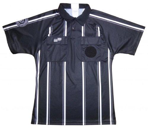 Pro USSF Black Stripe Shortsleeve Referee Shirt - Small