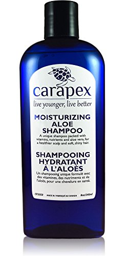 Carapex Moisturizing Aloe Shampoo, Fragrance Free for Dry Hair & Scalp, Safe for Color Treated, Damaged & Thinning Hair, Reduces Flakes, Adds Volume and Shine, Paraben Free, 8oz