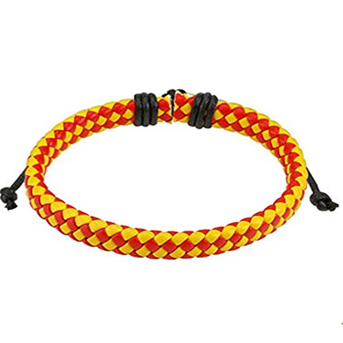Red and Yellow Diagonal Checker Weaved Leather Bracelet with Drawstrings, Adjustable Size by Sliding Tie-Knot Closure and One Size Fits Most (Extends upto 10
