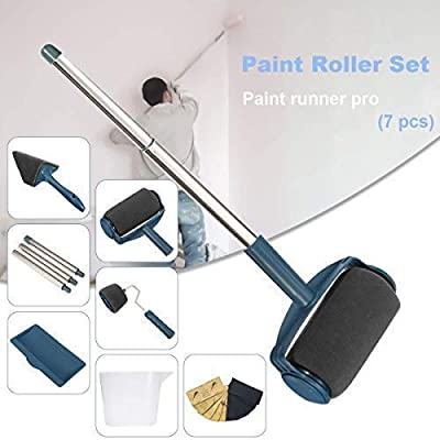 Seamless Paint Runner Pro Paint Roller Brush [Updated Version] with 10 Pcs Sandpaper?9x3.6 inch?- No Prep, No Mess. Simply Pour and Paint to Transform Any Wall or Surface in Just Minutes(7 Pcs?