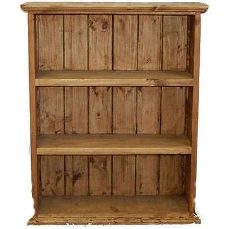 Medium Wood Bookcase Three Shelf Real Wood Custom Rustic Western