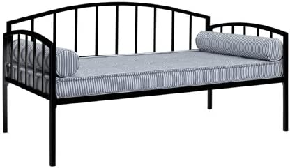 DHP Ava Metal Daybed Frame with Round Arm Design, Fits Twin Size Mattress, Black