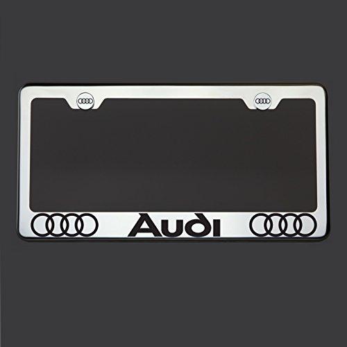 Black Mirror License Plate (Black Lettering Laser Engraved Mirror Polish Stainless Steel Audi License Plate Frame Holder Front Or Rear Bracket Steel Chrome Screw Cap)