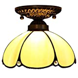 Tiffany Style Ceiling Lamp, European Style Simple Curved Glass Ceiling Lamp, Retro Creative Porch Bay Window Balcony Aisle Ceiling Lights
