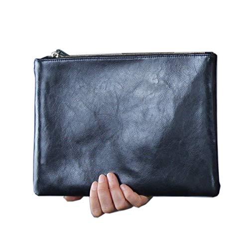 Real Patent Leather Genuine Lambskin Envelope Clutch Hand Bag Black Brown Tan (Black) ()