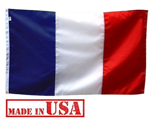 US Flag Factory 3'x5' France French Flag (Sewn Stripes) Outdoor SolarMax Nylon - Premium Quality - 100% Made in America
