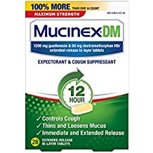 Mucinex DM 12 Hr Max Strength Expectorant & Cough Suppressant Tablets, 28ct