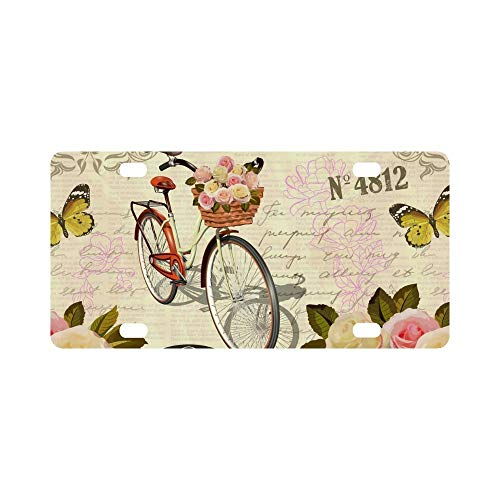 Seandsf Vintage Roses Butterfly Bird and Bicycle On Old Postal Stamps Automotive Novelty License Plate Frame for Women Men Auto Car Tag - Stamps Postal Old